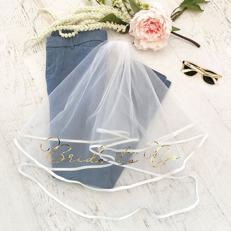 Bride to be short veil Bridal Shower beach pool rustic Wedding Engagement Bachelorette hen night Party decoration favor Gift