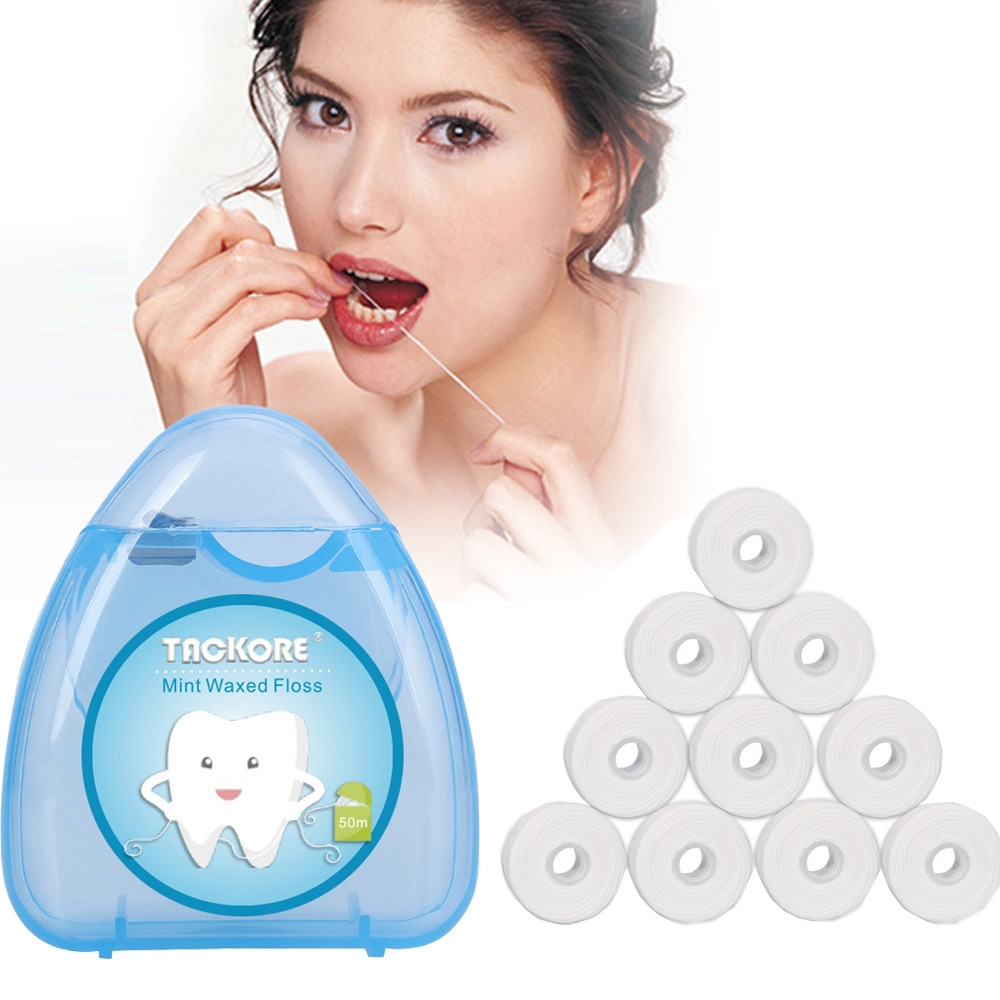 1 Box +10 Rolls 50m Dental Flosser Oral Hygiene Teeth Cleaning Wax Mint Flavored Dental Floss Spool Toothpick Teeth Flosser