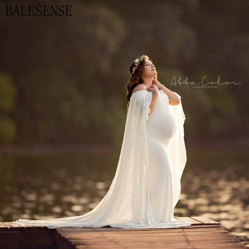 Chiffon Shawl Dress Maternity Photography Props Elegant Maxi Gown Pregnancy Dress Shoulderless Maternity Dresses For Photo Shoot enlarge