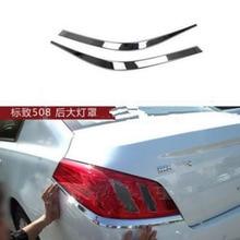Chrome Tail Rear Light Lamp Cover Trim For Peugeot 508 2011 2012 2pcs per set car stying Car Accessories
