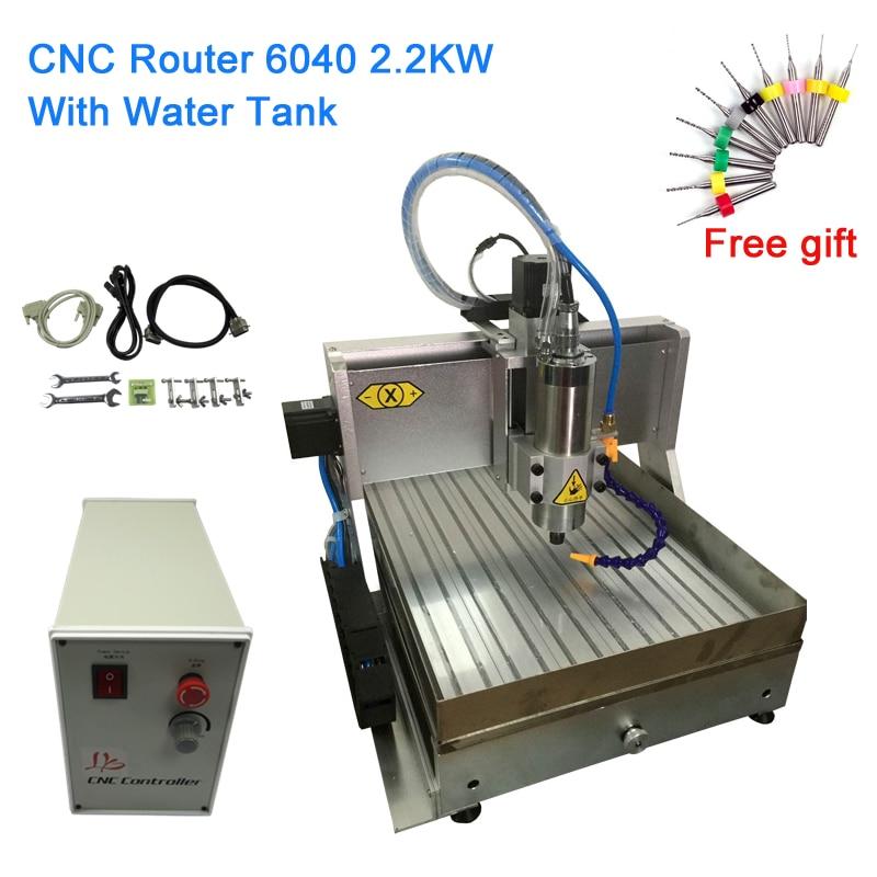 Enrutador CNC 6040 2,2 kW 3 ejes/4 ejes, grabador USB con tanque de agua LY, máquina de grabado y fresado 600*400mm