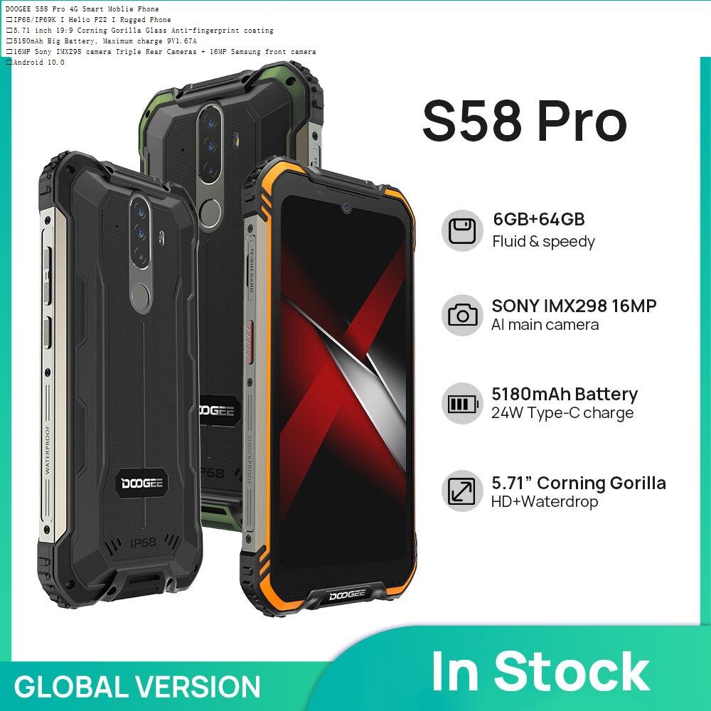 Global Version DOOGEE S58 Pro Smartphone IP68/IP69K Waterproof Rugged Phone 5180mAh 5.71