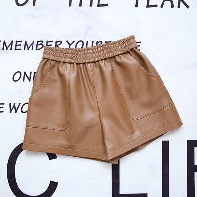 MESHARE Women Spring Genuine Real Sheep Leather Shorts E47