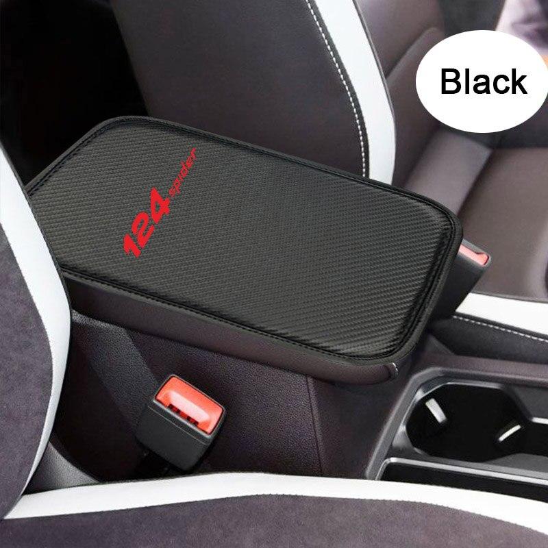 Coche del cuero de la PU Central reposabrazos Pad para Fiat 124 Spider negro Auto centro de la consola brazo resto asiento caja Mat cojín almohada