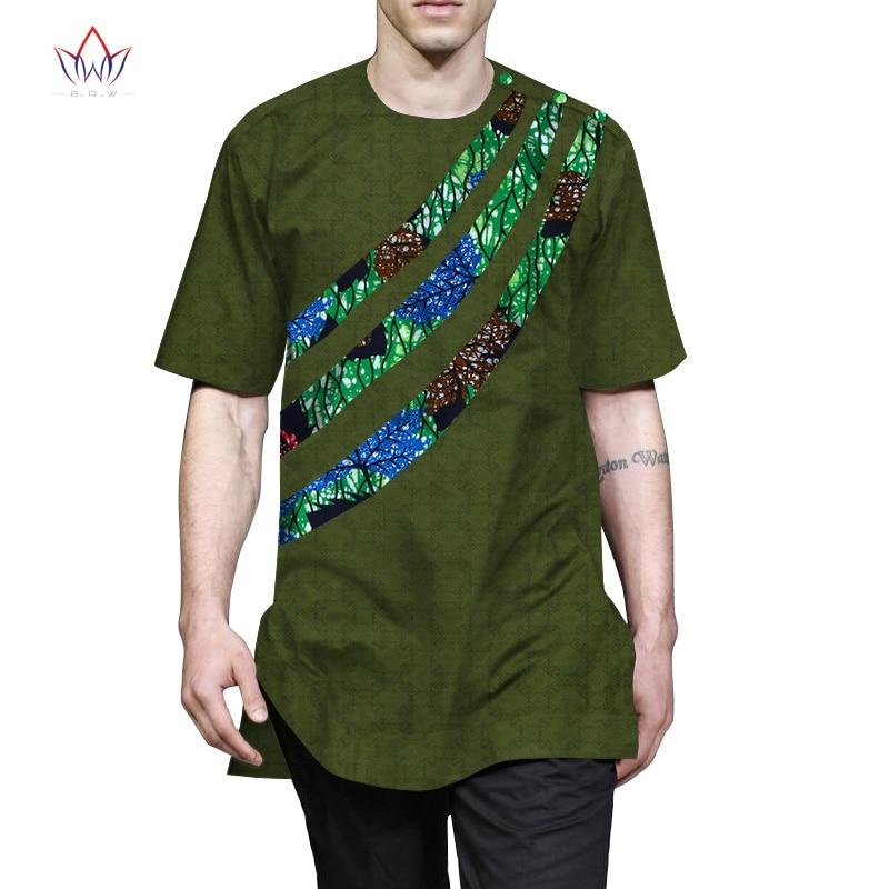 Летняя мужская Лоскутная футболка, африканская одежда Bazin богатый Африканский Мужская одежда, повседневная Хлопковая мужская рубашка с кру...