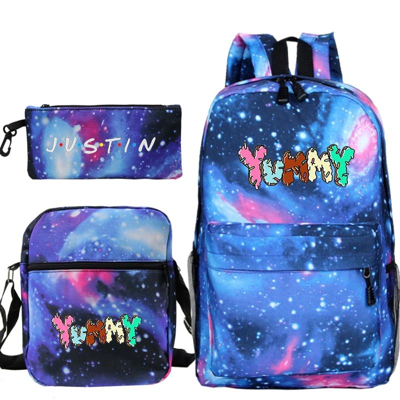 3 unids/set de bolsa de libros, bolsa de almuerzo, estuche de lápices Justin Bieber Yummy, mochila para ordenador portátil para mujeres, mochilas de escuela para niñas, mochilas de viaje