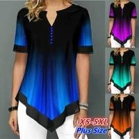 womens summer fashion printed blouses casual short sleeved button chiffon shirt women plus size irregular loose shirt tops