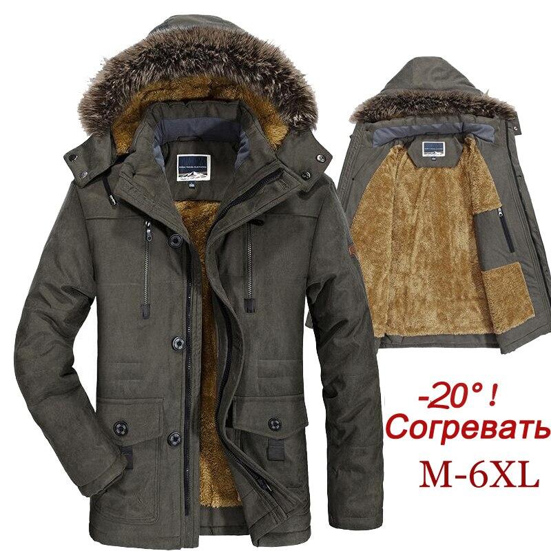 Jaqueta de inverno homem plus size 5xl 6xl algodão acolchoado quente parka casaco casual pele do falso com capuz velo longo masculino jaqueta blusão