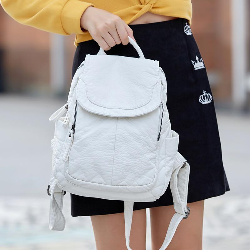 2021 جديد بسيط جودة عالية لينة جلد موضة المرأة على ظهره السفر مكافحة سرقة الفاخرة مصمم طالب حقيبة مدرسية الأبيض