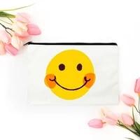 smiling face cosmetic bag for makeup bags mini handbags womens pouch travel free shipping organizer make up kawaii woman