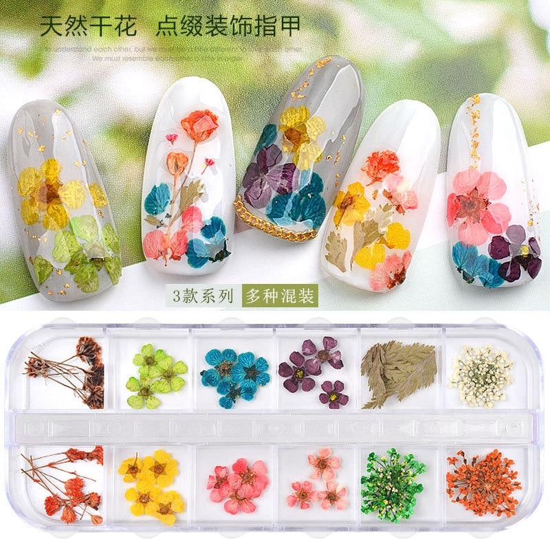 1 caixa 3d flor seca decoração do prego 3d natural floral adesivo floret pétala jóias misturadas flores secas diy adesivos manicure acce