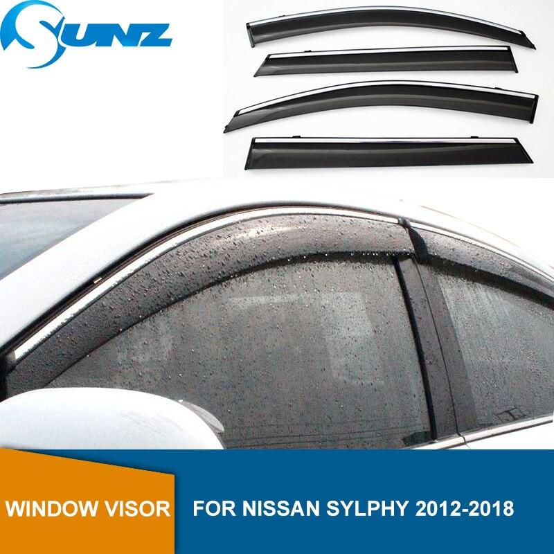 Side Window deflectors For NISSAN SYLPHY 2012 2013 2014 2015 2016 2017 2018 Window Visor Sun Rain Deflector Guards SUNZ