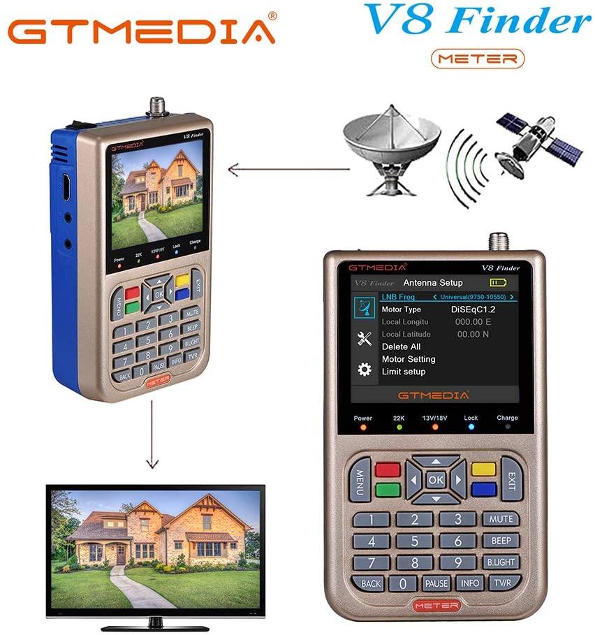 GT ميديا V8 مكتشف متر الرقمية إشارة الأقمار الصناعية استقبال الكاشف DVB-S2X HD 1080P 3.5 LCD عرض المدمج في بطارية 3000mAh