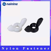 [M3 M4 M5 M6 M8 M10 M12] Hand Tighten Black And White Nylon Nut Wingnut Butterfly Nut Ingot Plastic Wing Nuts DIN315