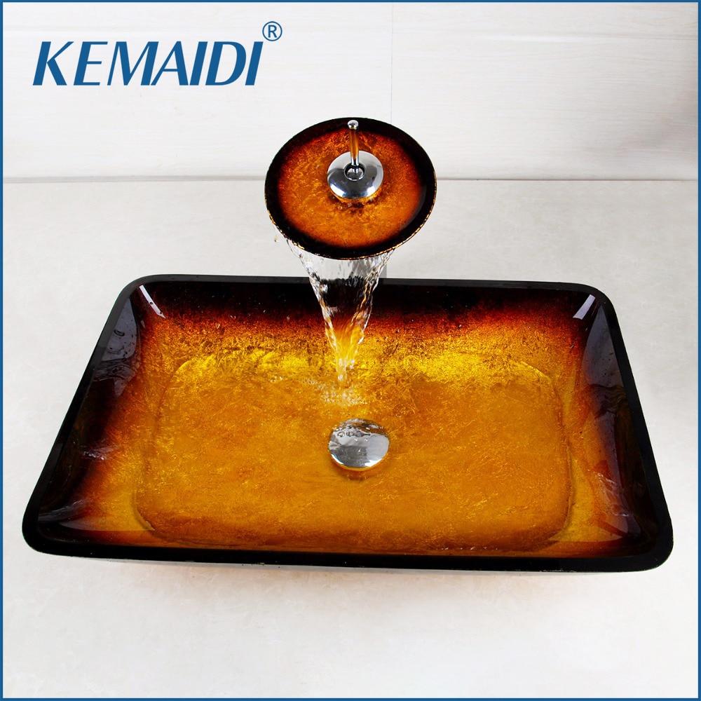 KEMAIDI زجاج مستطيل مرحاض حوض حمام مجموعة Torneira خلاط صنبور حوض مقابض واحدة الحنفية بالوعة الحمام مغسلة مجموعات