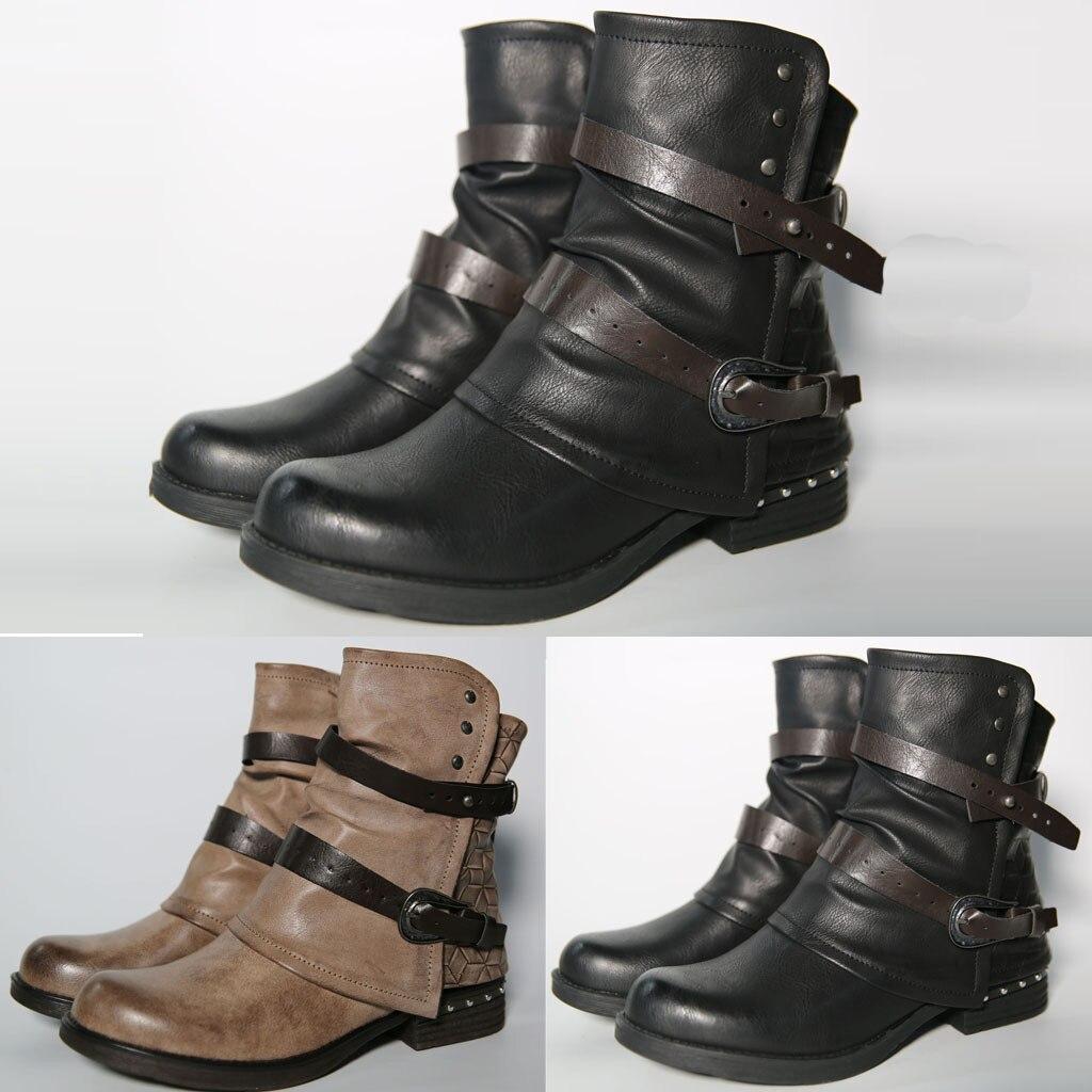 2019 moto botas damas combate Vintage otoño botas ejército Punk Goth botas de mujer de las mujeres de cuero de la PU de trabajador botas cortas