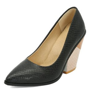 2021 New Snakeskin Superfine Fiber Fashion Pointed Toe Women Pumps Spring Thick Heel Slip on Casual Party Women Shoes Size 34-43