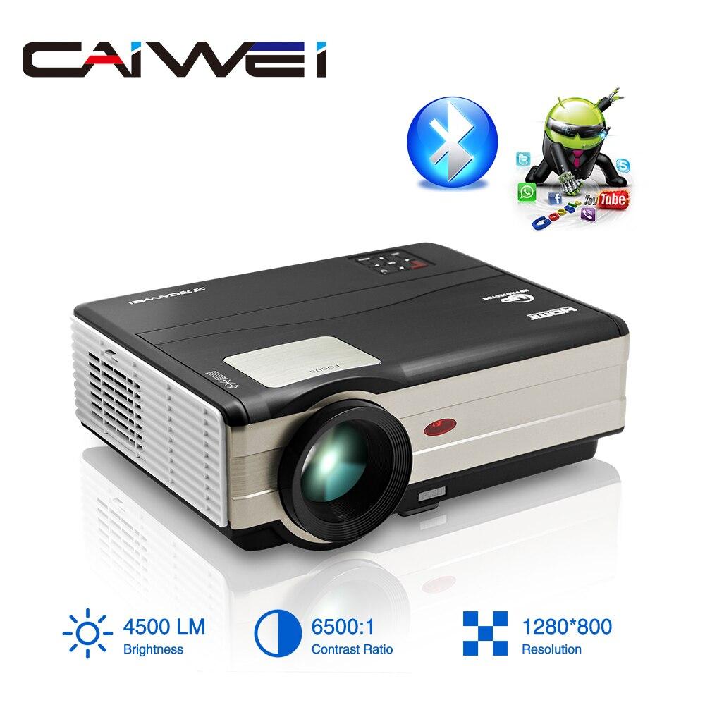 Proyector LED Caiwei A8/A8AB con Android, WiFi, Bluetooth, para cine en casa, móvil, Beamer Full HD, vídeo para Smartphone, ordenador portátil, TV de 4500 lúmenes
