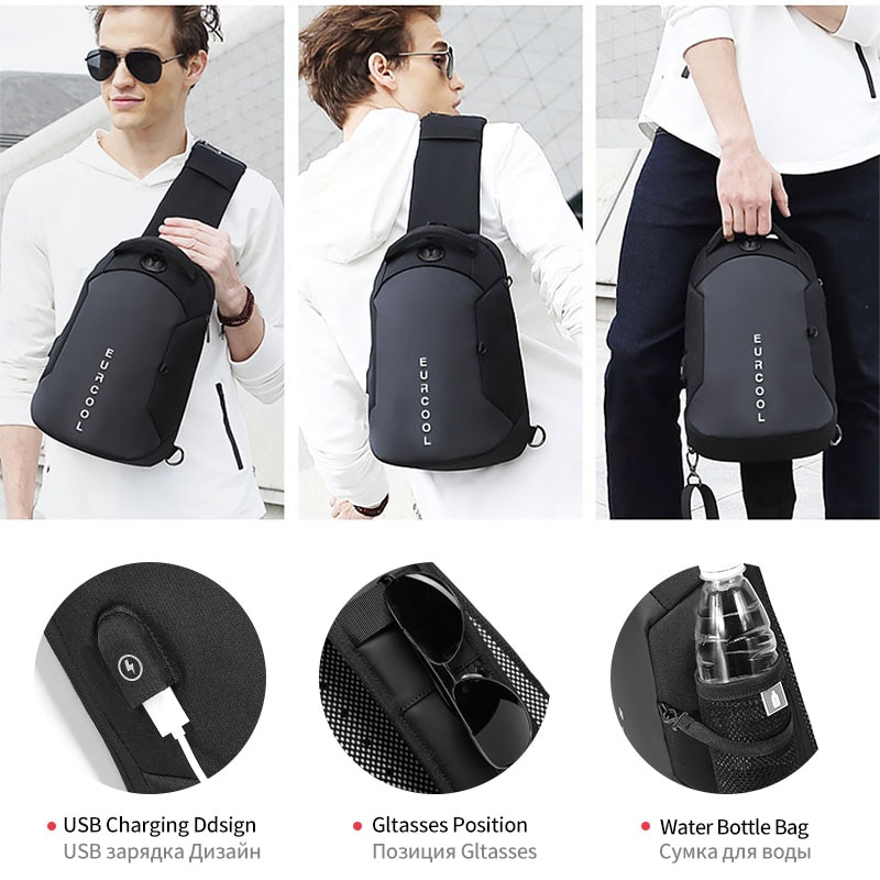 Multifunction Crossbody Chest Bag Men USB Charging Pack Short Trip Messengers Water Repellent Shoulder Bags Наплечные сумки 1825