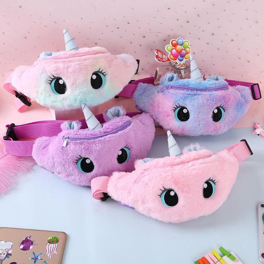 Cute Unicorn Children's Fanny Pack Girls Waist Bag Plush Toys Belt Gradient Color Chest Bag Cartoon Coin Purse Travel Chest Bag