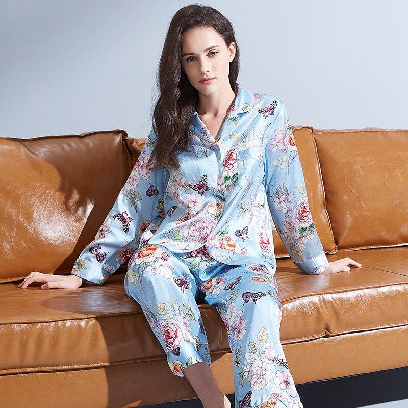 100% Nature Silk Pajama for Women Blue Print Pyjamas PJ Set Full Sleeve Sleepwear Ladies Night Wear 100% Silk Pijamas Female