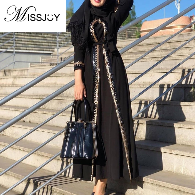 MISSJOY-فستان إسلامي مزين بالترتر للنساء المسلمات ، فستان تركي مرقع ، كارديجان أنيق باللونين الرمادي والأسود ، مجموعة 2020