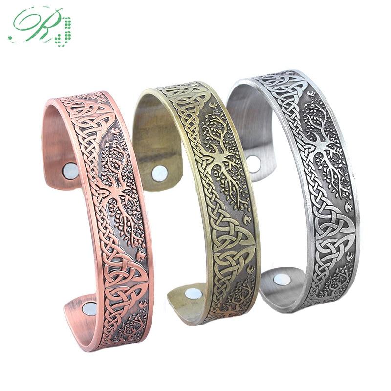 Rj árvore da vida pulseira gravado carta minha forma viking celtics nó pulseiras energia ímã saúde ajustável bileklik para homem