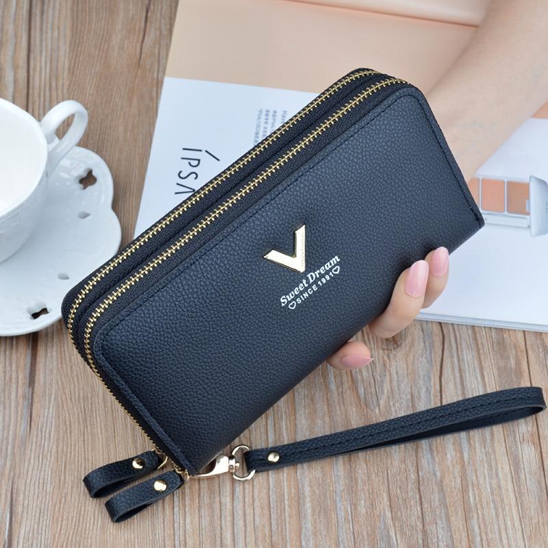Women's wallet fashion V Ladies mobile phone bag long ladies new clutch bag star Double zipper hand strap bag Multiple color 697