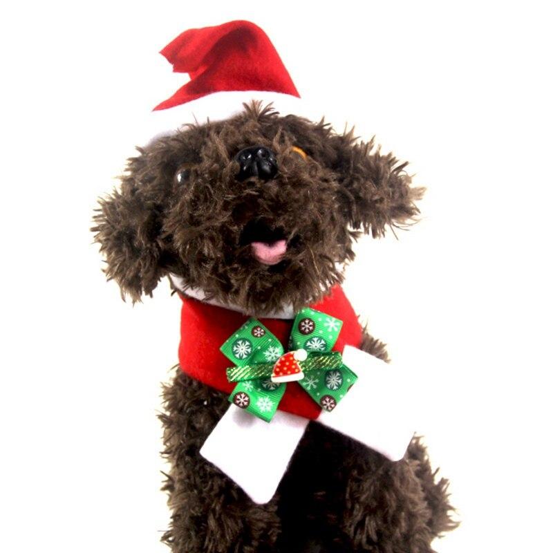 Зимняя Красная рождественская шапка Санта-Клауса для собаки, шарф для дня рождения и воротник, галстук-бабочка, Рождественский костюм для щ...