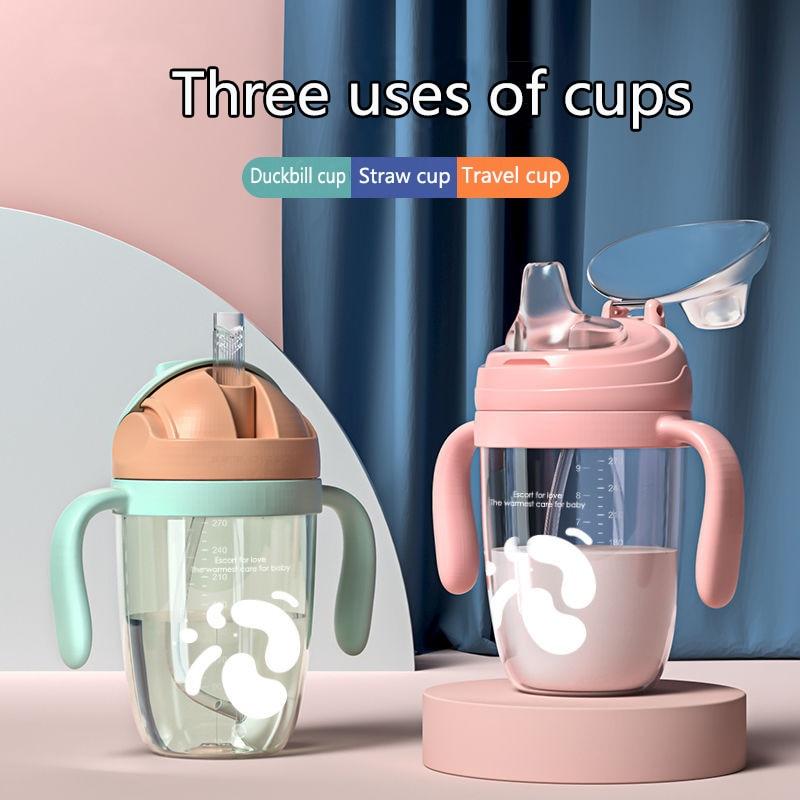Детская силиконовая соломенная чашка, чашка для кормления ребенка, милая мультяшная детская развивающая чашка, детская чашка для кормления...