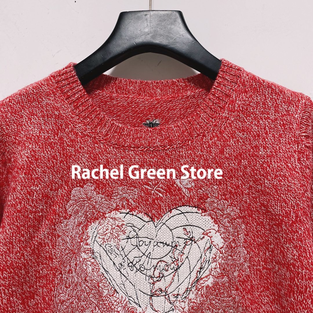 Paris Designer Fall 21 Women Clothing Vintage Letter Jacquard Heart Shaped Embroidery Long Sleeve Fashion Sweater Woman Sweaters enlarge
