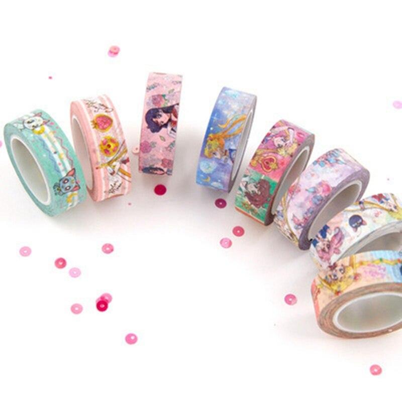 Cinta adhesiva de papel de dibujos animados Sailor Moon Girl Cat Washi, cinta adhesiva DIY para álbum de recortes, etiqueta adhesiva, cinta adhesiva
