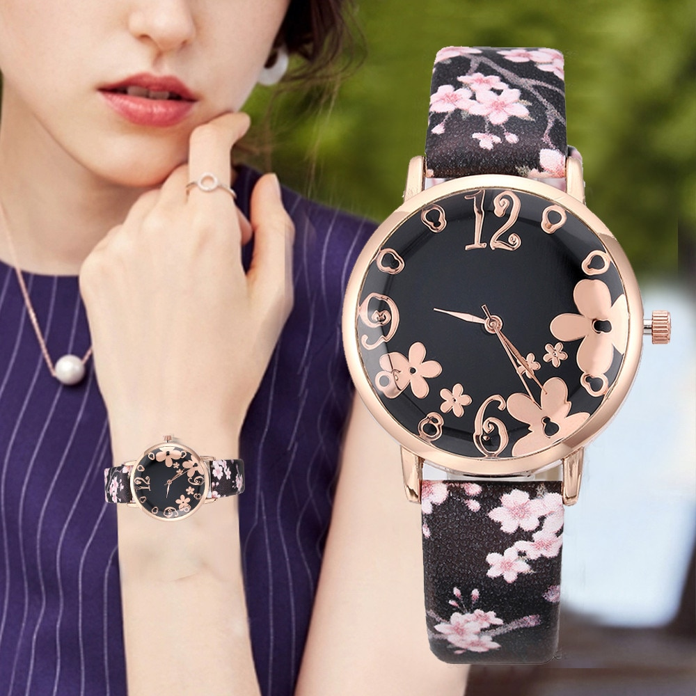 Women Fashion Embossed Flowers Small Fresh Printed Belt Student Quartz Watch reloj de mujer zegarek