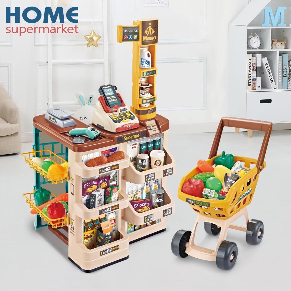 Simulation Home Supermarket Shopping Cash Register Set Girl Cart Children Pretend Play Toys Education