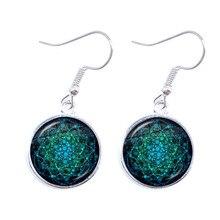 Classic Flower of Life Drop Earrings Om Yoga Chakra Mandala Fashion 16mm Glass Cabochon Dome Sacred Geometry Women Girls Jewelry