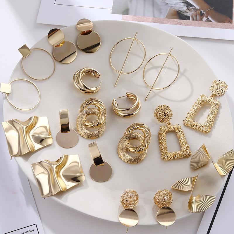 Fashion Vintage Earrings For Women Big Geometric Statement Gold Metal Drop Earrings 2020 Trendy Earings Jewelry Accessories