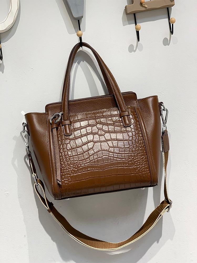 حقيبة كتف من الجلد الطبيعي للنساء ، حقيبة يد عصرية بنمط التمساح ، جلد البقر الطبيعي ، 2021