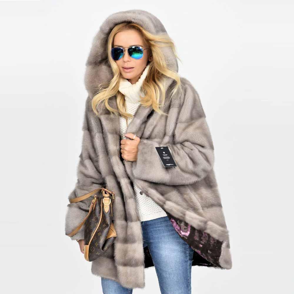 Роскошные натуральные куртки из цельной кожи из натурального меха норки, новинка 2021, модные шубы из натурального меха норки, шубы с капюшоно...
