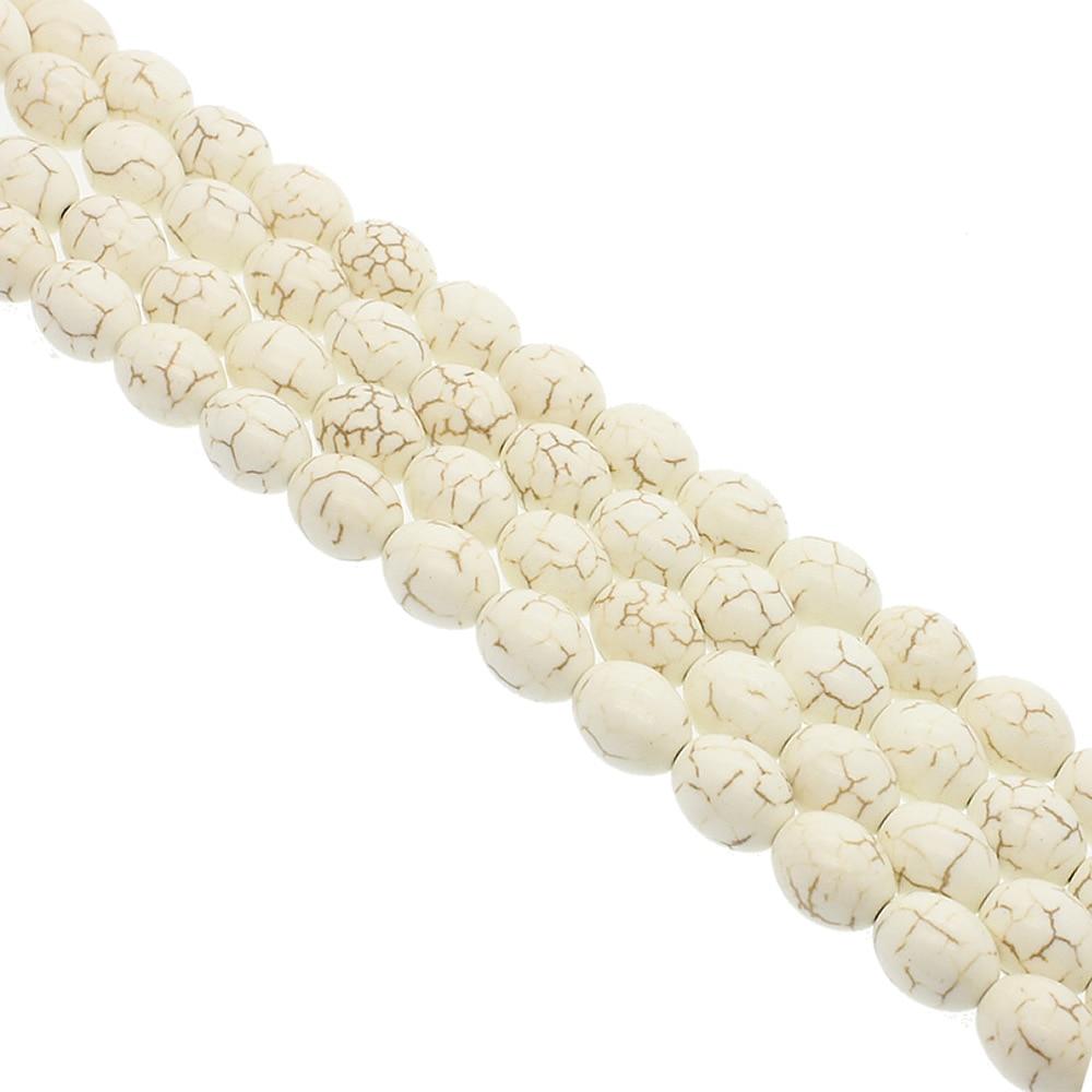10x14mm turquesa grânulos soltos cor branca forma de arroz contas de pedra oval fios jóias diy colar pulseira brincos acessórios