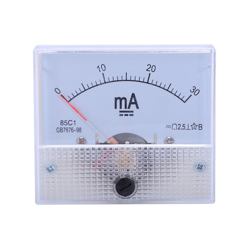 DC 0-30Ma, Panel del metro analógico, amperímetro real 85C1 30MA, blanco