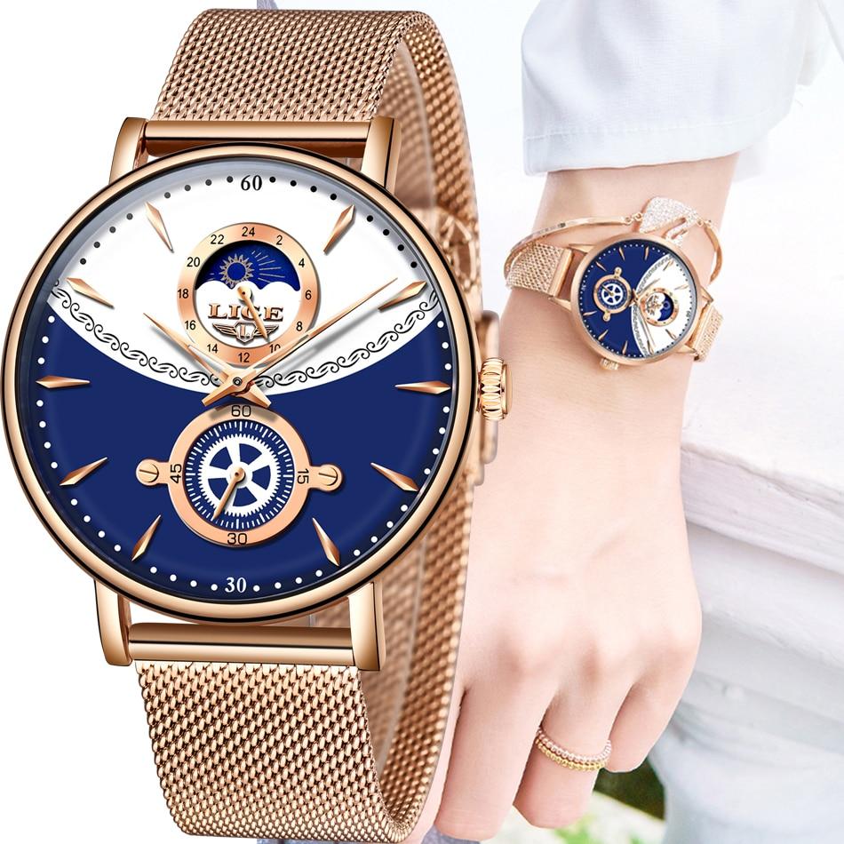 LIGE 2020 New Women Luxury Brand Watches Simple Quartz Lady Waterproof Wristwatch Female Fashion Casual Watch Clocks reloj mujer enlarge