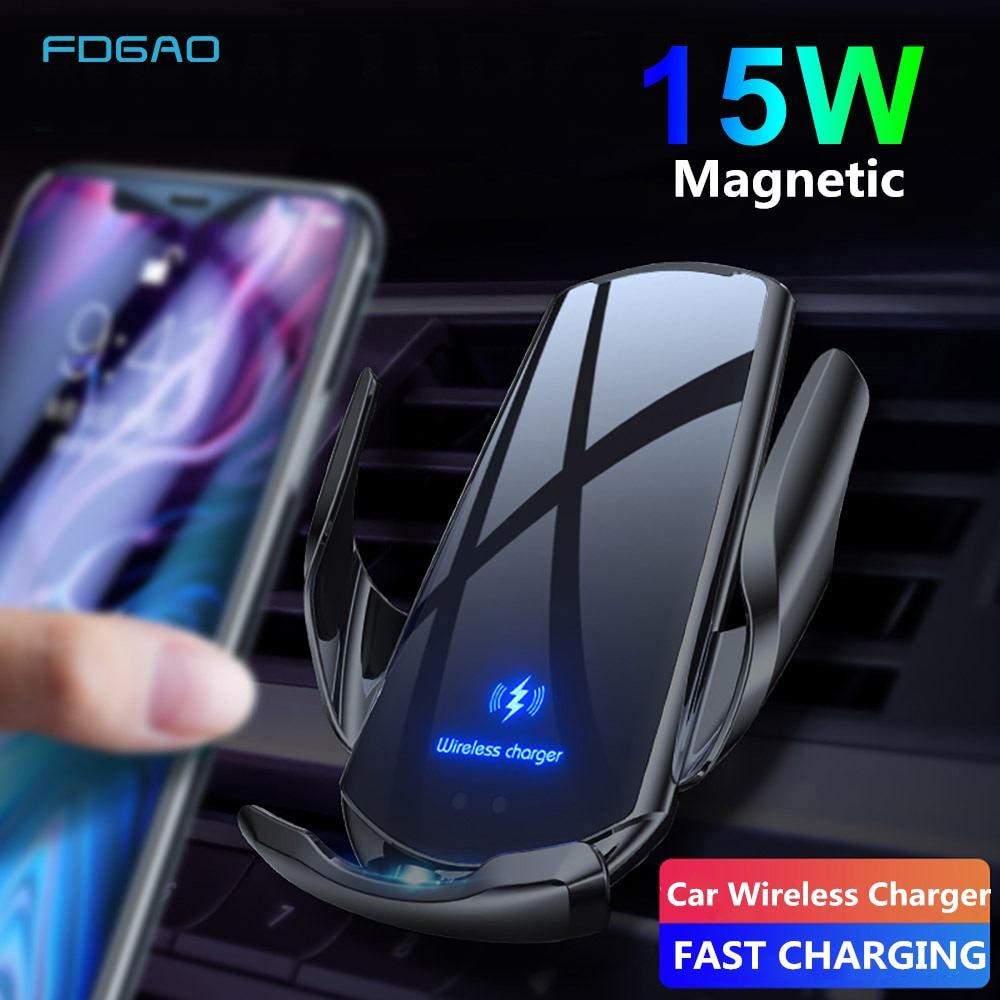 Magnetic Fast Charging Automatic Clamping 15W Qi Wireless Car Charger Car Phone Holder Air Vent Stand for iPhone 12 11 XS XR X