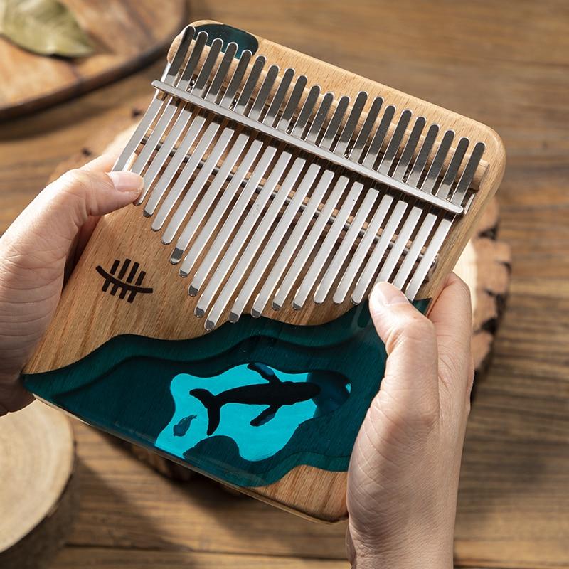 2021 21 Key Thumb Piano Solid Beech Epoxy Resin Portable Kalimba Mbira Sanza With Tuning Hammer Keyboard Musical Instrument enlarge