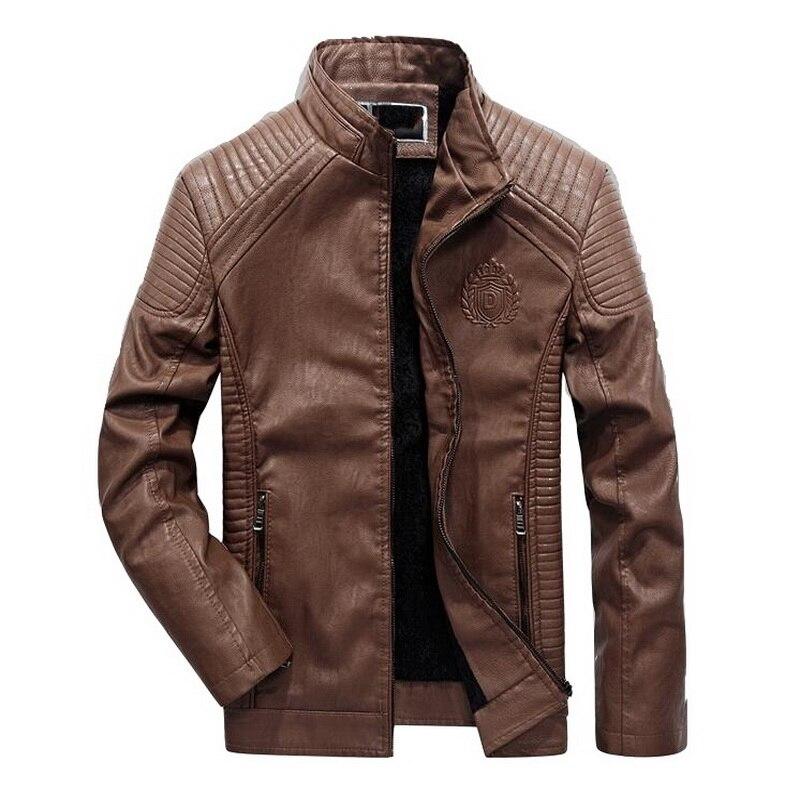 Moto chaqueta de cuero de los hombres de cuero de la PU chaqueta abrigo de invierno de los hombres de terciopelo ropa de chaqueta de cuero