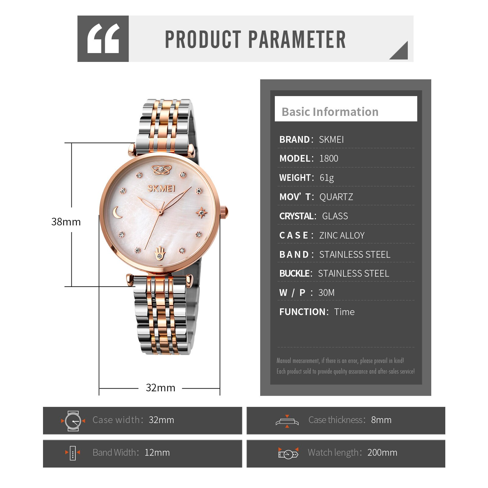 SKMEI Elegant Meticulous Womens Watches Rhinestone Mosaic Fashion Women Quartz Wristwatches Ladies Girls Watch reloj mujer 1800 enlarge