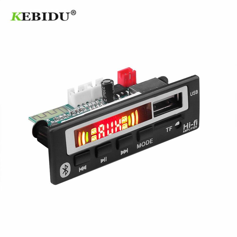 KEBIDU Bluetooth5.0 MP3 WMA descodificador WAV de 5V 12V 12V módulo inalámbrico Audio Color pantalla TF USB FM Radio para coche accesorios