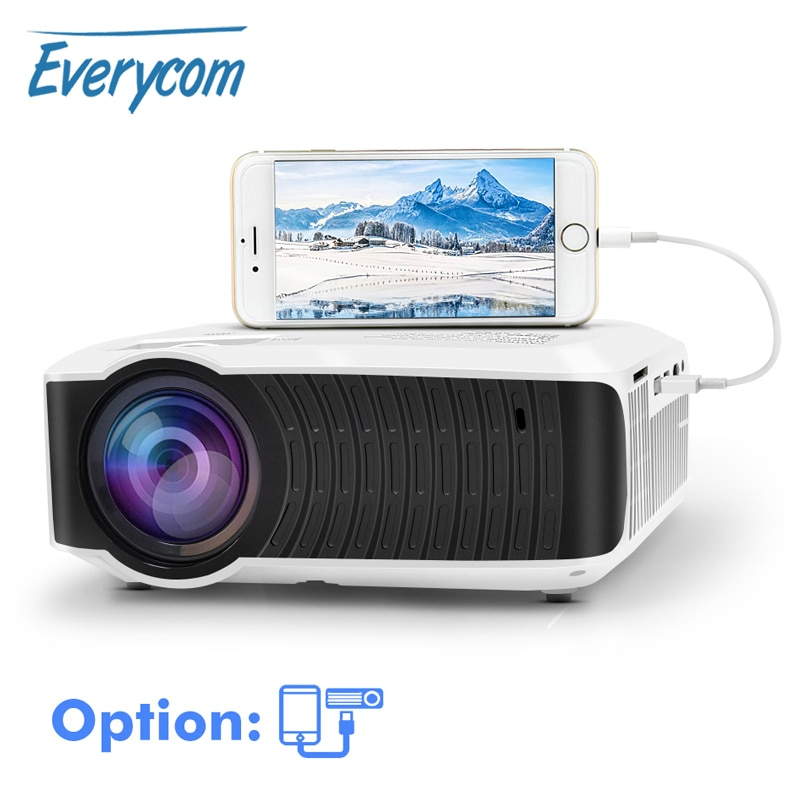 Everycom T4 Mini proyector 1280*720 HD LED de vídeo portátil de cine en casa de Beamer opción con cable de sincronización de pantalla Iphone Ipad