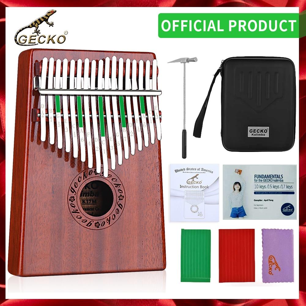 GECKO-بيانو كاليمبا ذو 17 مفتاحًا ، يحتوي على صندوق واقي مدمج EVA عالي الأداء ومطرقة وتعليمية. الماهوجني