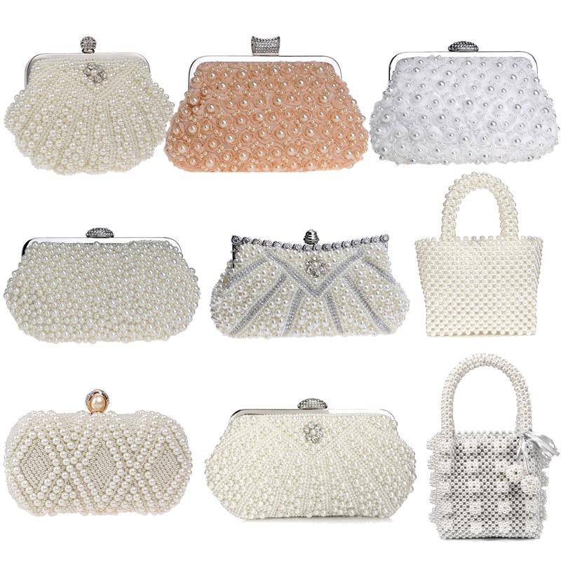 SEKUSA, bolsos de noche para mujer con pedrería, bolsos de mano pequeños con diseño de concha de diamantes para mujer, bolsos para fiesta, cena, boda, novia, bolso con perlas, monedero