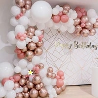1 set white dusty pink balloons garland baby shower decor retro pink rose gold birthday balloon arch for girls party decor globo